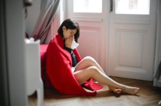 woman ill self isolation