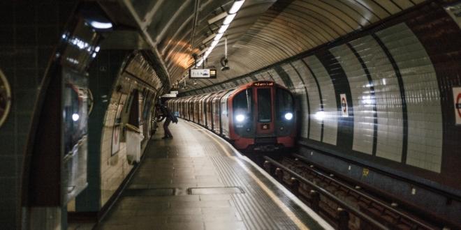 London Underground train in Tube station