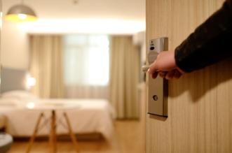 hotel room door opening