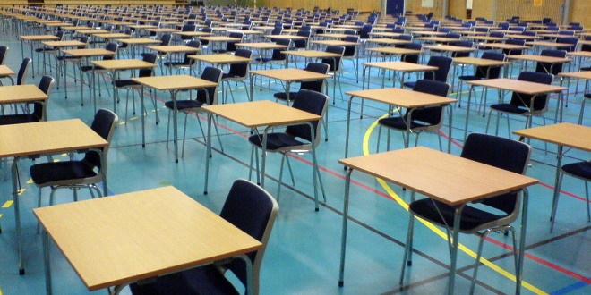 exam desks and chairs in hall