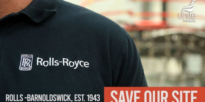 Unite Rolls-Royce strike banner