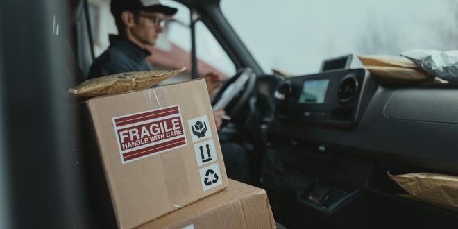 Delivery driver in van